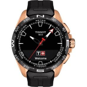 Tissot T-Touch Connect Solar Smartwatch Titan PVD Rosé mit schwarzem Kautschukarmband