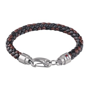 Tommy Hilfiger Bracelet en Cuir marron / noir