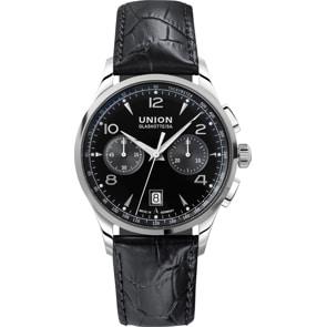 Union Glashütte Noramis Chronograph Automatik Schwarz / Leder