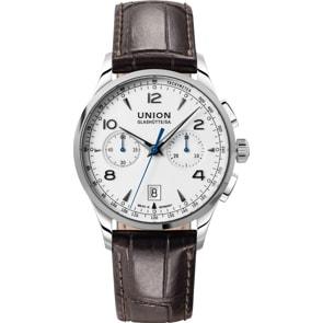 Union Glashütte Noramis Chronograph Automatik Weiss / Leder