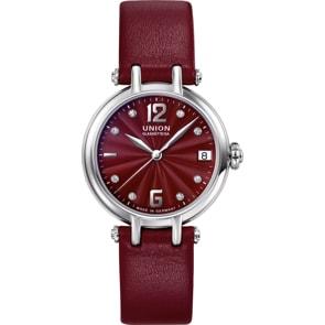 Union Glashütte Sirona Datum Automatik Rot mit Diamanten / Leder