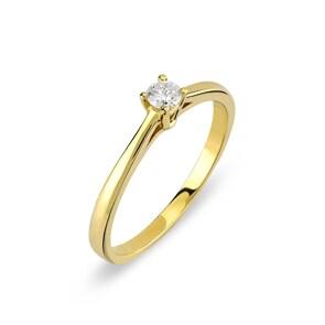 Verlobungsring 750/18 K Gelbgold mit Diamant 0.10 ct H/si