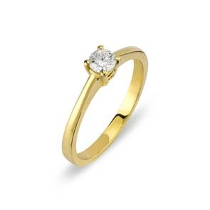 Verlobungsring 750/18 K Gelbgold mit Diamant 0.19 ct H/si