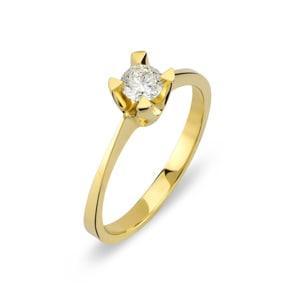 Verlobungsring 750/18 K Gelbgold mit Diamant 0.24 ct H/si