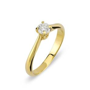 Verlobungsring 750/18 K Gelbgold mit Diamant 0.30 ct H/si