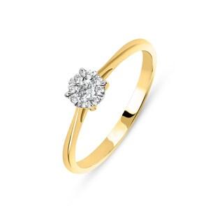 Verlobungsring 750/18 K Gelbgold mit Diamanten 0.15 ct H/si by CHRISTIAN
