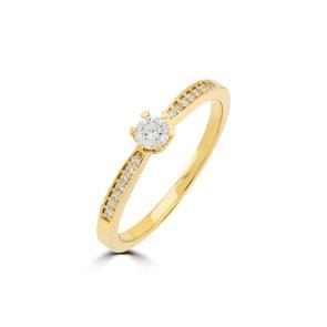Verlobungsring 750/18 K Gelbgold mit Diamanten 0.19 ct H/si