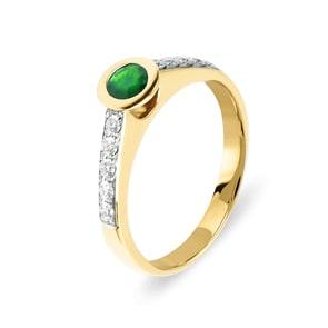Verlobungsring 750/18 K Gelbgold mit Diamanten 0.25 ct H/Si und Smaragd 0.29 ct