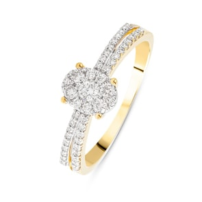 Verlobungsring 750/18 K Gelbgold mit Diamanten 0.28 ct H/si