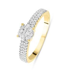 Verlobungsring 750/18 K Gelbgold mit Diamanten 0.31 ct H/si