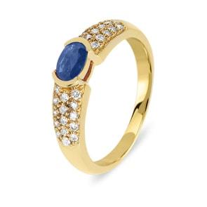 Verlobungsring 750/18 K Gelbgold mit Diamanten 0.31 ct H/Si und Safir 0.50 ct