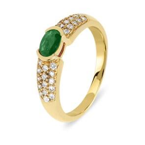 Verlobungsring 750/18 K Gelbgold mit Diamanten 0.31 ct H/Si und Smaragd 0.41 ct