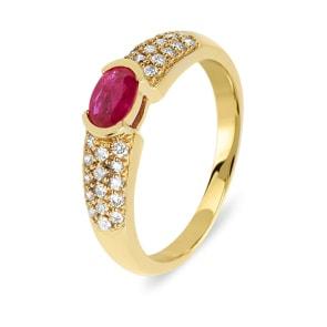 Verlobungsring 750/18 K Gelbgold mit Diamanten 0.32 ct H/Si und Rubin 0.54 ct