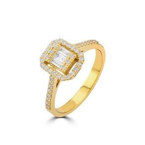 Verlobungsring 750/18 K Gelbgold mit Diamanten 0.36 ct H/si