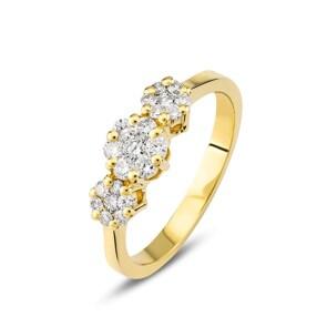 Verlobungsring 750/18 K Gelbgold mit Diamanten 0.38 ct H/si