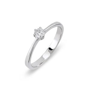 Verlobungsring 750/18 K Weissgold mit Diamant 0.15 ct H/si