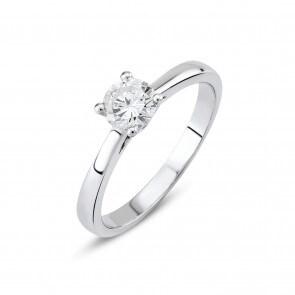 Verlobungsring 750/18 K Weissgold mit Diamant 0.40 ct H/si