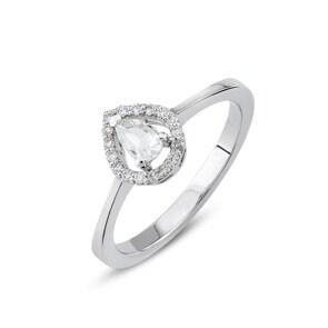 Verlobungsring 750/18 K Weissgold mit Diamanten 0.22 ct H/si