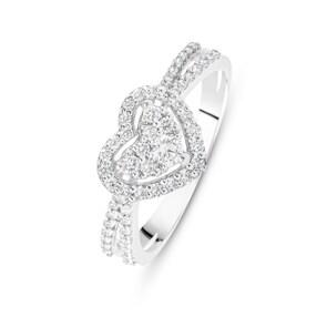 Verlobungsring 750/18 K Weissgold mit Diamanten 0.29 ct H/si, Herz