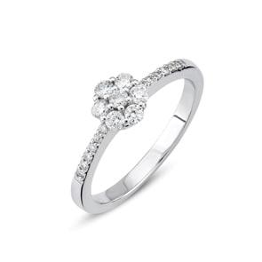 Verlobungsring 750/18 K Weissgold mit Diamanten 0.31 ct H/si