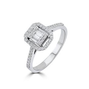 Verlobungsring 750/18 K Weissgold mit Diamanten 0.36 ct H/si