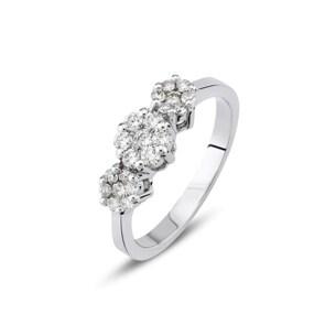Verlobungsring 750/18 K Weissgold mit Diamanten 0.38 ct H/si