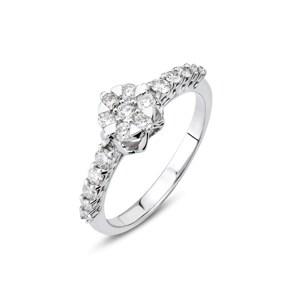 Verlobungsring 750/18 K Weissgold mit Diamanten 0.42 ct H/si