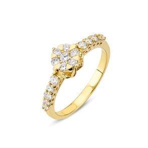 Verlobungsring 750/18 K Gelbgold mit Diamanten 0.42 ct H/si