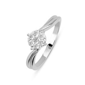 Verlobungsring 750/18 K Weissgold mit Diamanten 0.50 ct H/si
