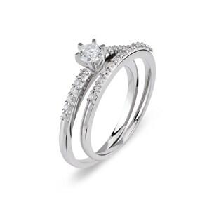 Verlobungsring mit Beisteckring 750/18 K Weissgold mit Diamanten 0.42 ct H/si