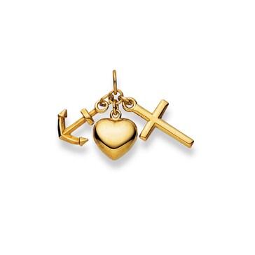 Pendentif 750/18 K or jaune, La foi, l'espérance, l'amour