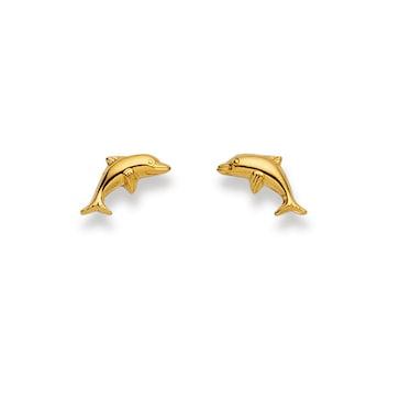 Clous d'oreilles 750/18 K or jaune, Dauphin