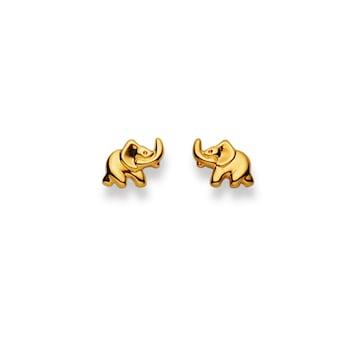 Clous d'oreilles 750/18 K or jaune, Éléphant