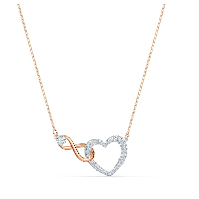 Swarovski Collier Infinity Heart, blanc, finition mix de métal