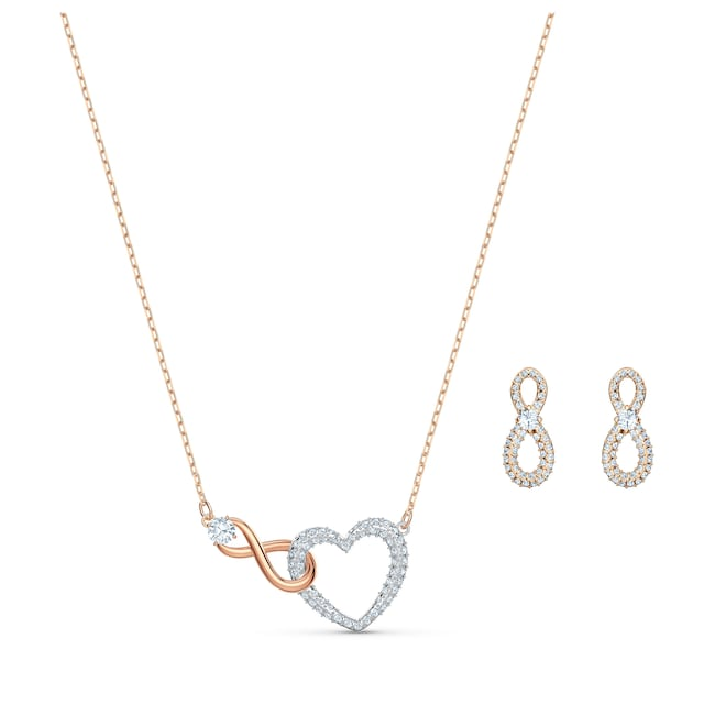 Swarovski Parure Infinity Heart | Collier avec boucles d'oreilles