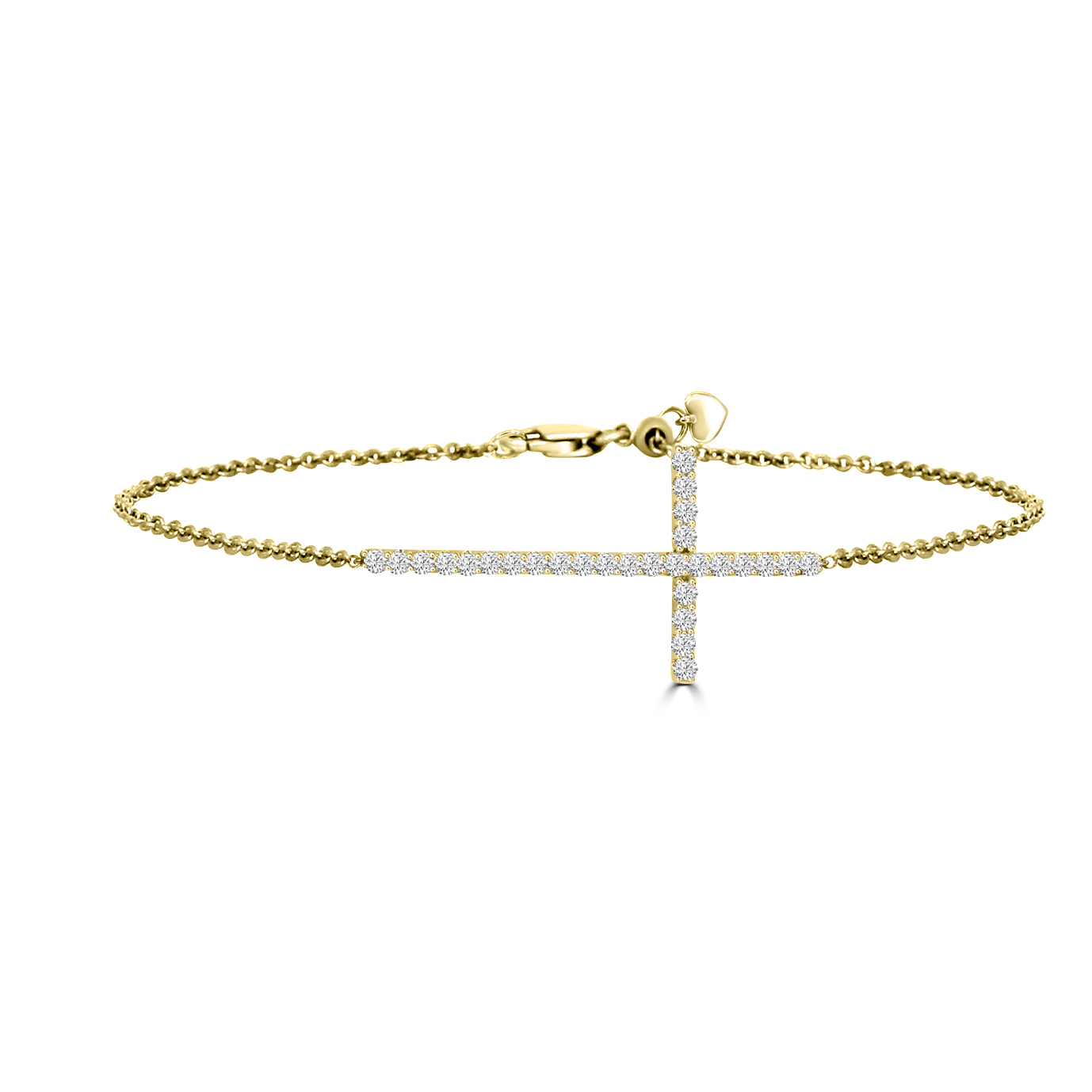 Bracelet 750/18 K or jaune avec diamants 0.50 ct H/si, Croix