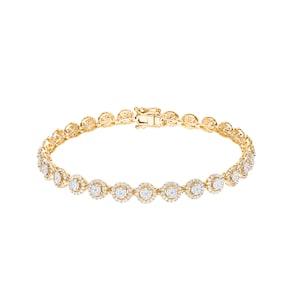 2.00 carats diamants bracelet rivière halo 750/18 K or jaune