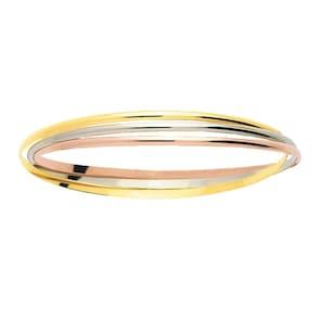 Bracelet Jonc ronde 750/18 K or tricolore entrelacés