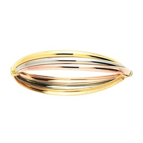 Bracelet Jonc ovale 750/18 K or tricolore soudés 52 x 57mm