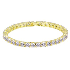 5mm Bracelet Tennis plaqué or jaune avec Zirconia