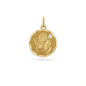 Pendentif 750/18 K or jaune avec diamant 0.004ct. Ø 15mm, Ange gardien