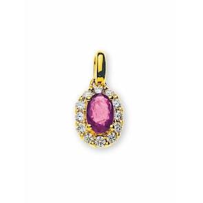 Pendentif 750/18 K or jaune avec rubis et diamants