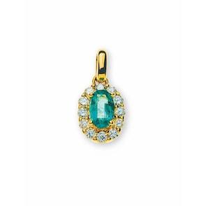 Pendentif 750/18 K or jaune avec émeraude et diamants
