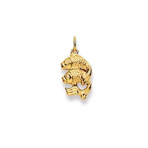 Pendentif 750/18 K or jaune, Signe du zodiaque Poisson