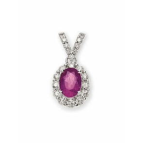 Pendentif 750/18 K or gris avec rubis et diamants