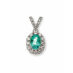 Pendentif 750/18 K or gris avec émeraude et diamants