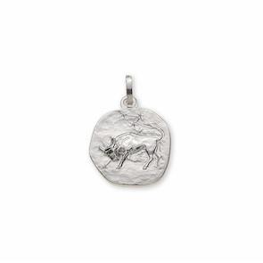 Pendentif 750/18 K or gris, Signe du zodiaque Taureau