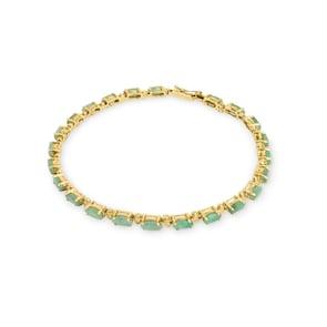 Bracelet 750/18 K or jaune avec émeraudes 9.24 ct