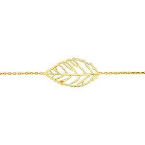 Bracelet 750/18 K or jaune 18cm, Feuille