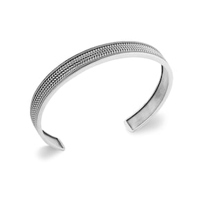 Bracelet Jonc Quantum Argent 925 avec Motif de tissage Ø 62mm